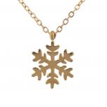 Gold Tone Snowflake Christmas Xmas WinterPendant Necklace