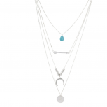 Silver Tone Turquoise Teardrop Layered Arrow Horn Coin Necklace