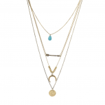 Turquoise Teardrop Layered Arrow Horn Coin Necklace