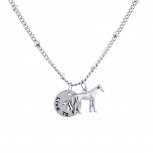 Women's Girl's Silver Tone Live to Ride Horse Charm Necklace