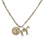 Burnished Gold Tone Live to Ride Horse Charm Necklace