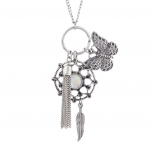 Burnish Silvertone Butterfly Dreamcatcher Charm Pendant Necklace