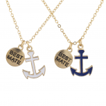 Goldtone Best Friends Forever BFF Nautical BFF Necklace 2Pc