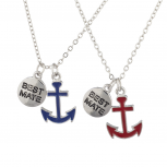 Silvertone Best Friends Forever BFF Nautical BFF Necklace 2Pc