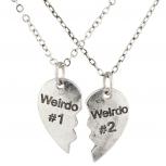Silvertone Weirdo 1 2 BFF Best Friends Heart Charm Necklaces 2PC