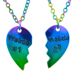 Weirdo 1 and 2 BFF AB Oil Slick Rainbow Pendant Necklace Set 2PC
