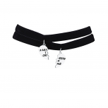 Silvertone Black Velvet Partners in Crime Choker Necklaces 2PCS