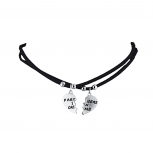 Silvertone Suede Cord Partners in Crime Choker Necklaces 2PC