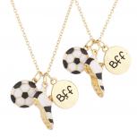 Goldtone BFF Best Friends Soccer Sports Charm Necklace Set 2PC
