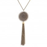 burnished Gold Casted Armor Chain Tassel Long Pendant Necklace