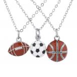Silvertone Football soccer ball Basketball Charm Necklaces 3PCS