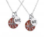 Silvertone Basketball Sport Best Friends BFF Charm Necklaces 2PC