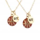 Goldtone Basketball Sport Best Friends BFF Charm Necklaces 2PCS
