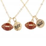 Goldtone Football Sport Best Friends BFF Charm Necklaces 2PCS