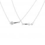 Silvertone Arrow Friends Forever BFF Charm Pendant Necklace 2PC