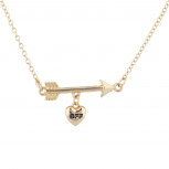 Gold Tone Arrow Heart BFF Best Friend Forever Charn Necklace