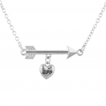 Silver Tone Arrow Heart BFF Best Friend Forever Charn Necklace