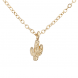 Gold Tone Delicate Cactus Desert Novelty Charm Pendant Necklace