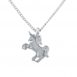 Silver Tone Unicorn Pony Fantasy Novelty Charm Pendant Necklace