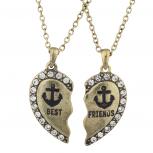 Burnish Gold Tone Best Friends Nautical Anchor Necklace Set 2PC
