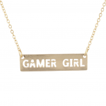 Gold Tone Cut Out Gamer Girl Video Games Bar Necklace