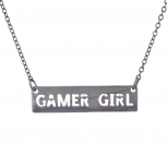 Hematite Tone Cut Out Gamer Girl Video Games Bar Necklace