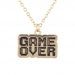 Gold Tone Game Over Gamer Girl Video Games Font Pendant Necklace
