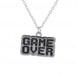 Silver Tone Game Over Gamer Girl Video Games Pendant Necklace