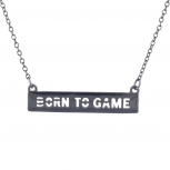 Hematite Tone Cut Out Born To Game Video Games Bar Necklace