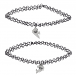 Silver Tone Player 1 2 Gamer BFF Broken Heart Choker Set 2 PC