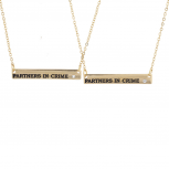 Gold Tone Partners in Crime Bar Best Friends Necklace Set 2PC