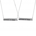 Silver Tone Partners in Crime Bar Best Friends Necklace Set 2PC