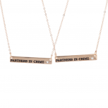 Rose Goldtone Partners in Crime Best Friends Necklace Set 2PC