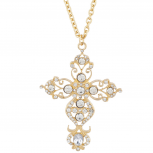 Gold Tone Rhinestone Crystal Filigree Cross Pendant Necklace