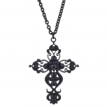 Black Tone Faux Rhinestone Filigree Cross Pendant Necklace
