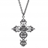 Hematite Tone Faux Rhinestone Filigree Cross Pendant Necklace