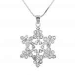 Silver Tone Crystal Rhinestone Snowflake Winter Pendant Necklace