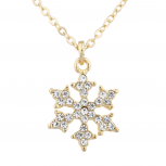 Gold Tone Christmas Holiday Snowflake Charm Pendant Necklace