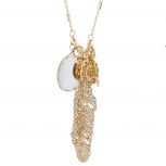 Gold Tone Crystal Rhinestone Leaf White Stone Charm Necklace