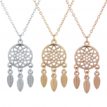 Tri Tone Boho Dream Catcher BFF Best Friends Necklace Set 3PC