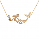 Gold Tone Faux Rhinestone Mermaid Sideways Pendant Necklace