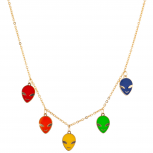 Gold Tone Multicolor Enamel Alien Multi Charm Pendant Necklace
