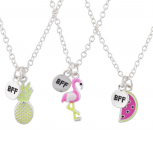 Silver Tone Flamingo Fruit BFF Best Friends Necklace Set 3PC