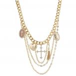Gold Tone Religious Cross Crystal Rhinestone Layered Necklace