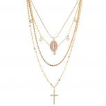 Gold Tone Cross Sticker Glitter Religious Layered Chain Necklace