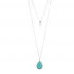 Turquoise Stone Teardrop Arrow Arrowhead Layered Necklace