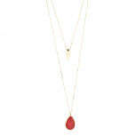 Gold Tone Boho Faux Red Howlite Stone Teardrop Layered Necklace