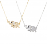 Silver Tone Gold Tone BFF Best Friends Elephant Necklace Set 2pc