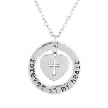 Silver Tone Forever in My Heart Cross Heart Religious Necklace