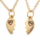 Gold Tone BFF Best Friends Broken Heart Pendant Necklace Set 2PC